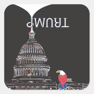 Trompette d'ATOUT et capitol des États-Unis Sticker Carré