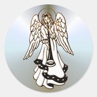 Trompette de laiton d'ange de Noël Sticker Rond