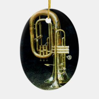 Trompette et tuba ornement ovale en céramique