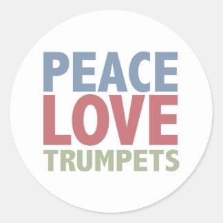 Trompettes d amour de paix adhésifs ronds