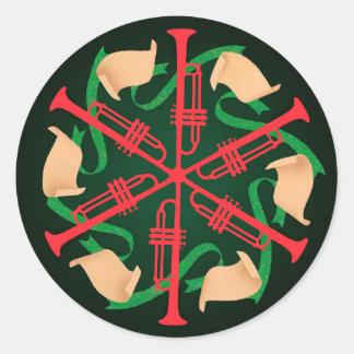 Trompettes et rubans sticker rond