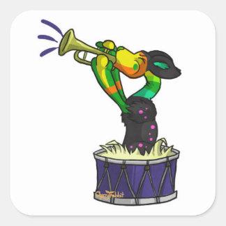 Trompettes et tambours autocollants carrés