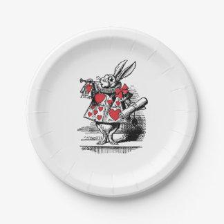Trompettiste blanc Alice de cour de lapin au pays Assiettes En Papier