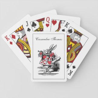 Trompettiste blanc Alice de cour de lapin au pays Cartes À Jouer