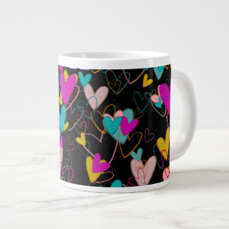 Trop de noir dramatique rayonnant de coeurs mug