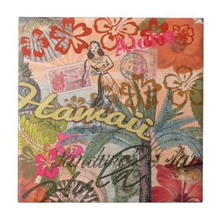 Tropical hawaïen coloré de voyage vintage d'Hawaï Petit Carreau Carré