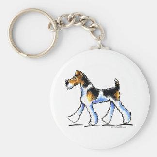 Trot de Fox Terrier de fil Porte-clé Rond