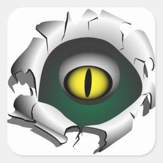 Trou, coupure. Les yeux du monstre Sticker Carré