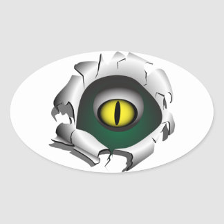 Trou, coupure. Les yeux du monstre Sticker Ovale