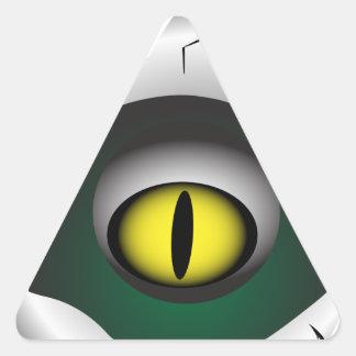 Trou, coupure. Les yeux du monstre Sticker Triangulaire