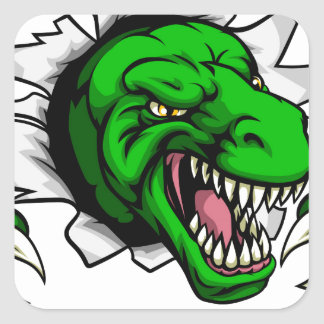 Trou griffant de dinosaure de T Rex à Sticker Carré