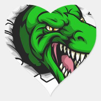 Trou griffant de dinosaure de T Rex à Sticker Cœur