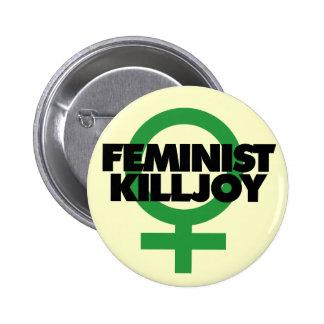 Trouble-fête féministe badge rond 5 cm