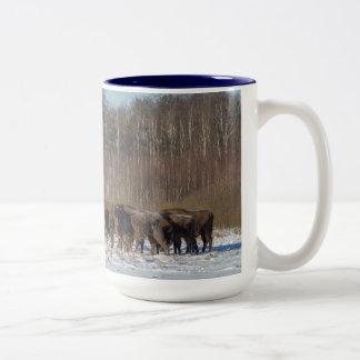 Troupeau de bison tasse 2 couleurs