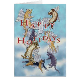 Troupeau de carte de Noël de chats d'ange bonnes