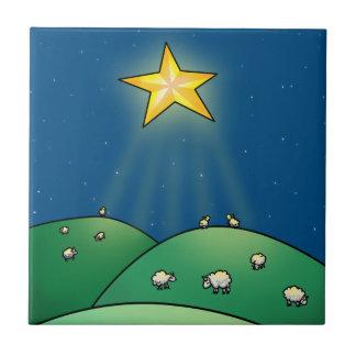 Troupeau des moutons sous l'étoile de Noël Petit Carreau Carré