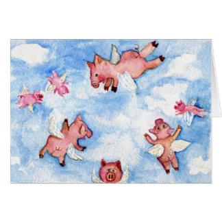 Troupeau heureux de carte de voeux de porcs de vol