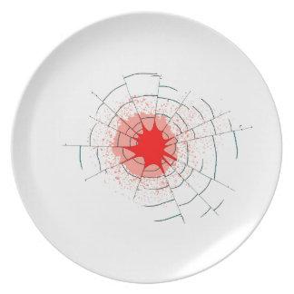Trous de balle simples en verre assiette