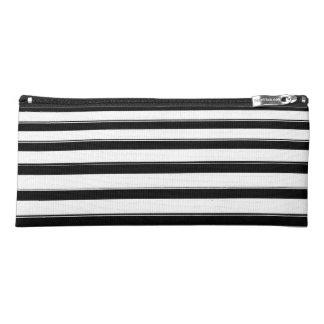 Trousse d'écolier rayée noire et blanche