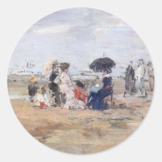 Trouville, Scène de plage - Eugène Boudin Sticker Rond