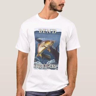 Truite pêchant la section transversale - courbure, t-shirt