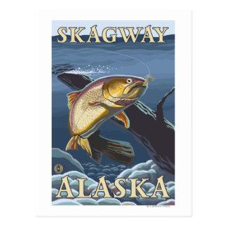 Truite pêchant la section transversale - Skagway, Carte Postale