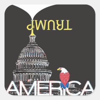TRUMP la trompette et le capitol des États-Unis - Sticker Carré