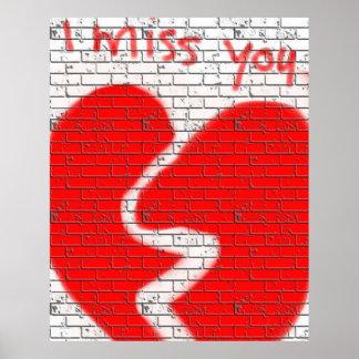 Tu me manque, le coeur brisé blanc rouge de mur de posters