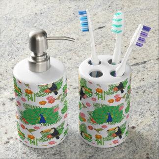 Tucan et motif de paon set de salle de bains