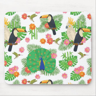 Tucan et motif de paon tapis de souris
