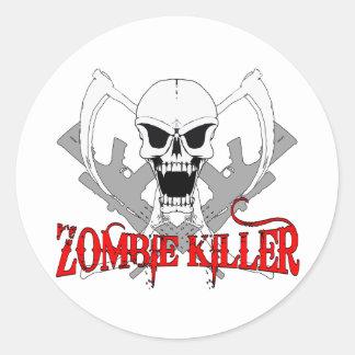 tueur 3 de zombi adhésif rond