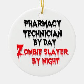 Tueur de zombi de technicien de pharmacie ornement rond en céramique