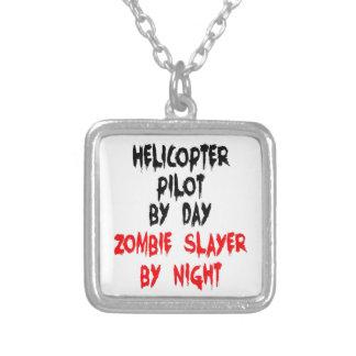 Tueur pilote de zombi d'hélicoptère pendentif carré