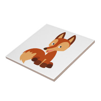 Tuile adroite mignonne de Fox de bande dessinée Petit Carreau Carré