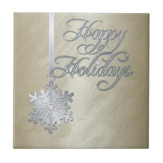 Tuile argentée de vacances d'or de flocon de neige petit carreau carré