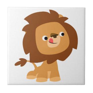 Tuile avide mignonne de lion de bande dessinée petit carreau carré
