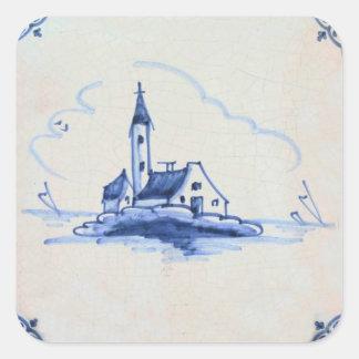 Tuile bleue ancienne classique de Delft - église Sticker Carré