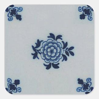 Tuile bleue ancienne classique de Delft - motif Sticker Carré