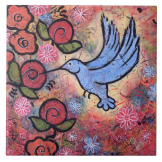 Tuile bleue de colibri carreau