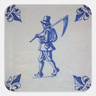 Tuile bleue de Delft - modèle Sticker Carré