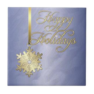Tuile bleue de vacances d'or de flocon de neige él petit carreau carré