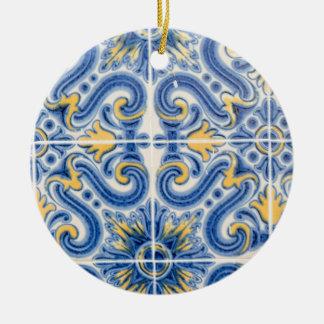 Tuile bleue et jaune, Portugal Ornement Rond En Céramique