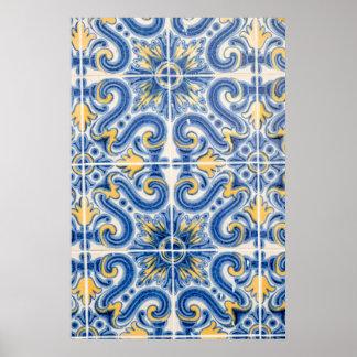 Tuile bleue et jaune, Portugal Poster