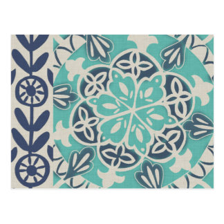 Tuile bleue I de batik Carte Postale
