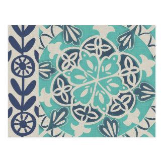 Tuile bleue I de batik Cartes Postales