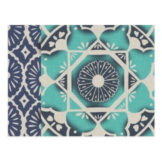 Tuile bleue II de batik Carte Postale