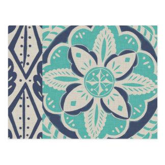 Tuile bleue IV de batik Carte Postale