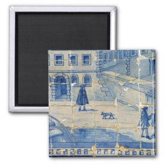 Tuile bleue magnet carré