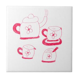 Tuile carrée de temps de thé petite carreau