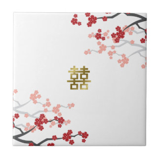 Tuile chinoise de mariage bonheur rouge de Sakura Carreau